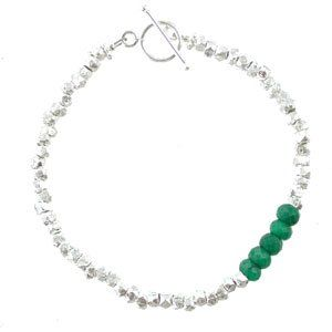 Green Emerald Gemstone and Sterling Silver Rock Bead
