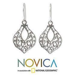 Sterling Silver Lace Petals Dangle Earrings (Thailand)