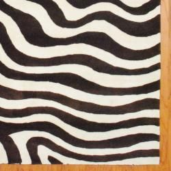 Indo Hand tufted Zebra print Brown/ Ivory Wool Rug (8 x 10