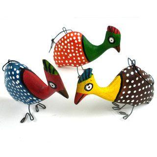 Handmade Holiday Ornament Set of Three Guinea Fowl (Mozambique
