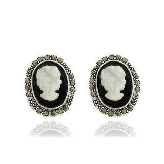 Silver Overlay Black Onyx, Cameo Shell and Marcasite Stud Earrings