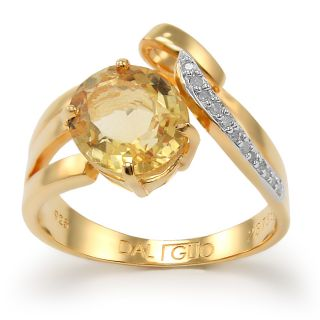 Daliglio Sterling Silver Citrine and 1/15ct TDW Diamond Ring