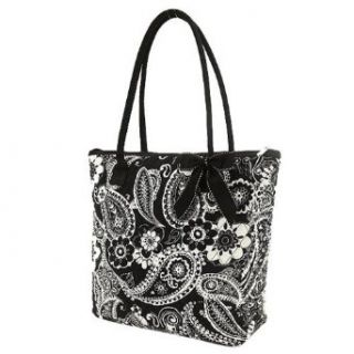 Belvah Quilted Paisley & Floral Tote Bag (Black/ White