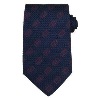 Versace Mens Textured Greek Key Stripe Silk Tie