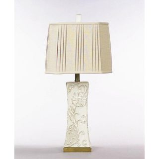 Soft Cream Finish/ Light Brown Rub Ceramic Table Lamp