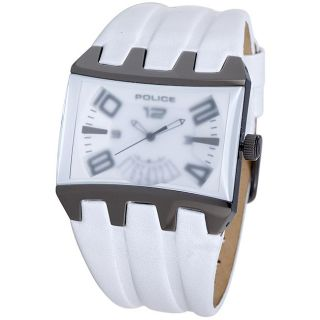 Police Mens Frosty White Dimension White Leather Strap Watch