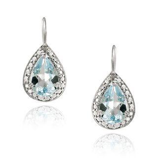 Glitzy Rocks Silver 2 2/5ct TGW Blue Topaz and Diamond Accent Earrings