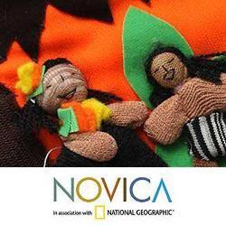Cotton  Nativity Applique Christmas Stocking (Peru