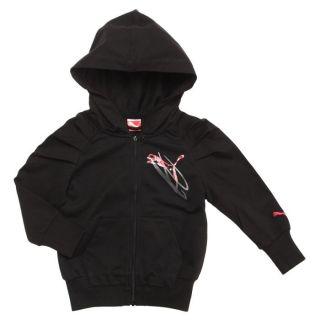 Sweatshirt noir. Sweat zippé à capuche, manches longues et froncées