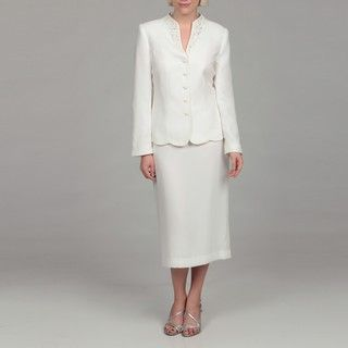 John Meyer Womens Cream 5 button Skirt Suit