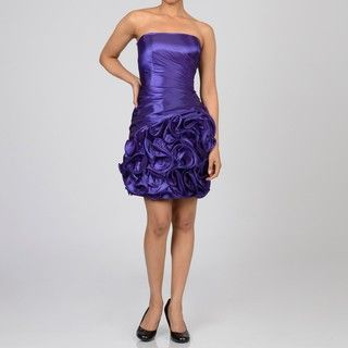 Onyx Nite Womens Purple Ruffle Hem Strapless Party Dress