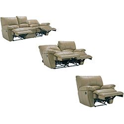Oakley Tan Reclining Leather Sofa, Loveseat and Reclining Chair
