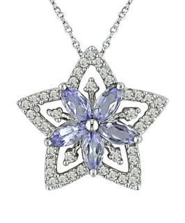 14k White Gold Marquise Tanzanite Star Necklace