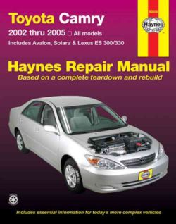 Toyota Camry,avalon,solara,lexus Es300/330 Repair Manual 2002 2005