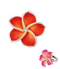 Hawaiian Flower Ring   Flower Petal Ring (Red) Toys