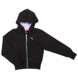 Sweatshirt noir. Sweat zippé à capuche intégrée, manches longues