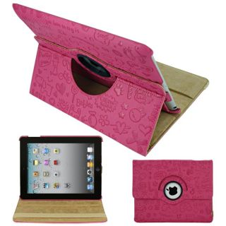 SKQUE Apple iPad 2 Hot Pink Rotating Leather Case