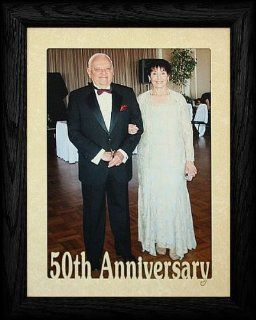5x7 JUMBO ~ 50th ANNIVERSARY Portrait BLACK Solid Oak