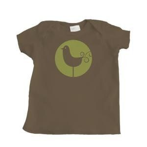 Green and Brown Bird Design Girls Infant T Shirt (Brown