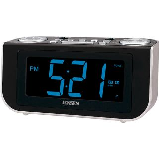 Jensen JCR 300 AM/FM Talking Dual Alarm Clock Radio with Voice
