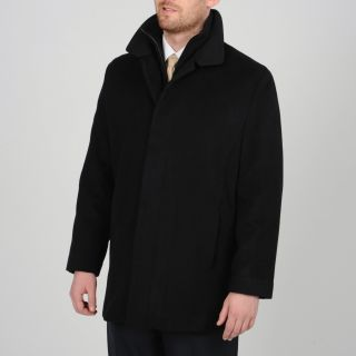 Tasso Elba Mens Black Wool blend Carcoat with Bib Today $86.99 5.0