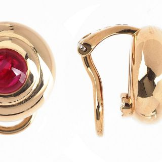 Chopard Happy Sport 18k Gold Ruby Earrings