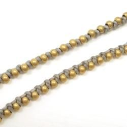 Triple Wrap Mini Brass Beads Gray Cotton Rope Bracelet (Thailand