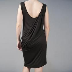 AtoZ Womens Greek Goddess Black Draped Sleeveless Dress