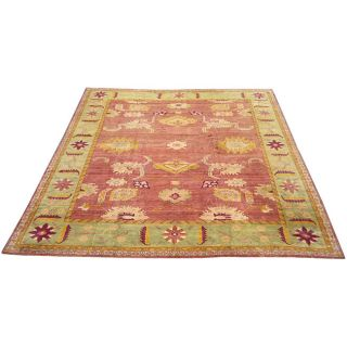Egyptian Hand knotted Vegetable Dye Oushak Peach Rug (134 x 16