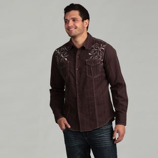 Pop Icon Mens Brown Embroidered Shirt