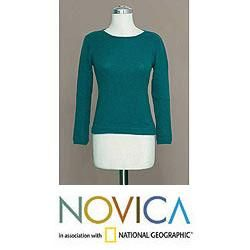 Alpaca Wool Blend Winter Teal Sweater (Peru)