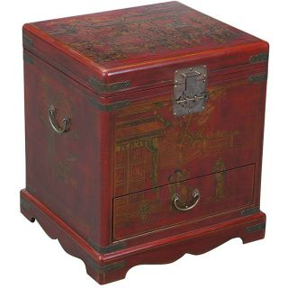 Hand painted Red Bonded Leather End Table Storage Chest