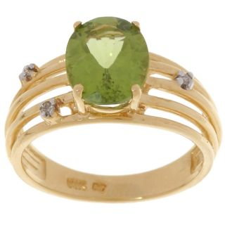 14k Yellow Gold Peridot Diamond Ring