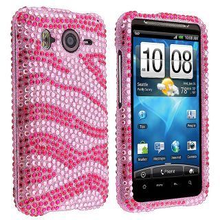 Pink Zebra Diamond Snap on Case for HTC Inspire 4G/ Desire HD
