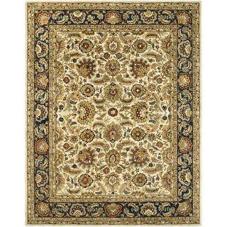 Handmade Classic Heirloom Ivory/ Navy Wool Rug (96 x 136