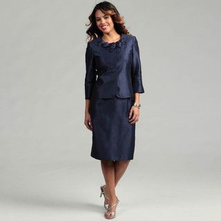 Kasper Womens MIdnight Blue 2 piece Flower Skirt Suit