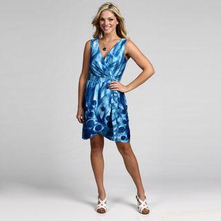 Ceces New York Blue Peacock Tulip Skirt Dress