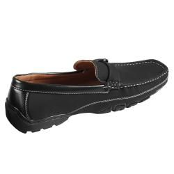 Boston Traveler Mens Topstitched Buckle Detail Square Toe Loafer