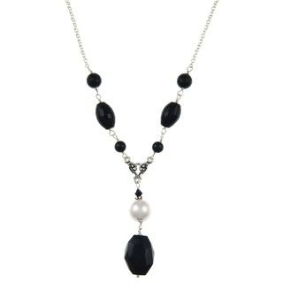 Charming Life Onyx and Crystal Faux Pearl Chunky Necklace