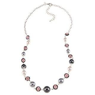 Roman Silvertone White and Grey Faux Pearl Plastic Stone Necklace