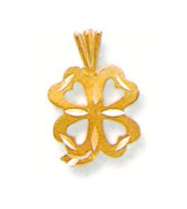 14kt Gold Diamond Cut Irish Celtic 4 Leaf Clover Shamrock