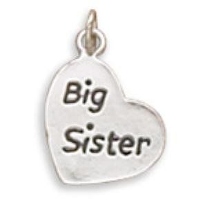 Big Sister Heart Charm Sterling Silver Jewelry