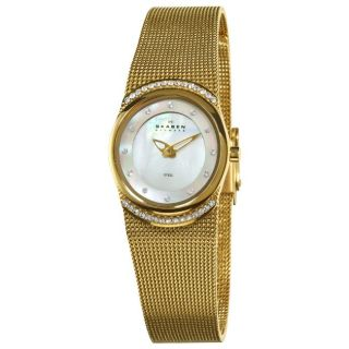 Skagen Womens Crystal Accented Mother of Pearl Gold Mesh Watch