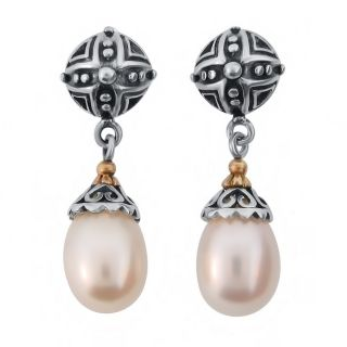 Meredith Leigh 14 Karat Gold & Sterling Silver Pearl Earrings