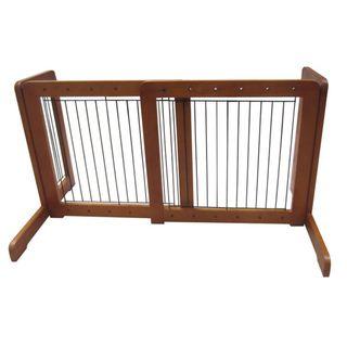 Honey Oak Free standing 23.6 39.4 inch Pet Gate