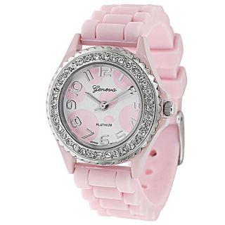 Geneva Platinum Womens Rhinestone accented Light Pink Silicone Watch