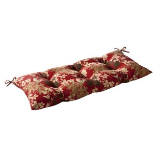 Pillow Perfect Outdoor Red/ Brown Floral Tufted Loveseat Cushion