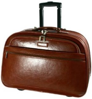 LE Sands 15.4 inch Brown Deluxe GENUINE LEATHER Wheeled