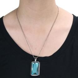 Stainless Steel Aqua colored Rectangular Glass Necklace
