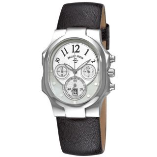 Philip Stein Womens Classic Chrono Black Strap Watch MSRP $695.00